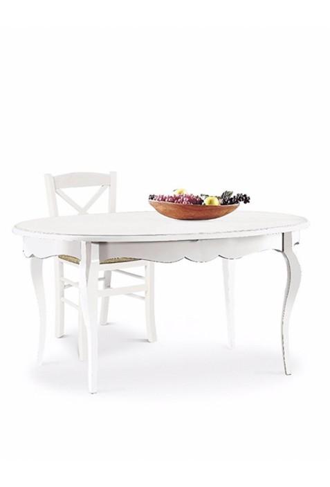 Tavolo ovale bianco laccato opaco