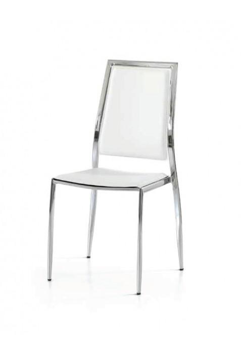 Sedie Pieghevoli In Cuoio.Sedia Mia Cromo Ed Eco Cuoio Bianco