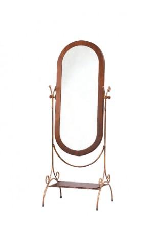 Specchio da terra in ferro battuto e legno R.0701