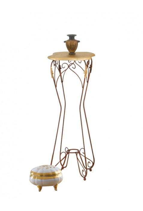 Alzatina in ferro battuto con piano in legno R.04007