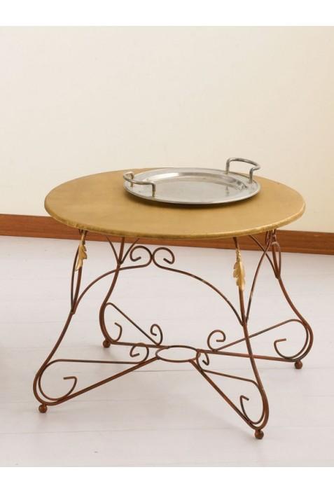 Tavolino tondo in ferro battuto e piano in legno R.04005