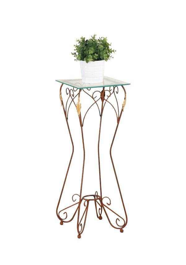 Alzatina in ferro battuto con piano in vetro R.04008/V