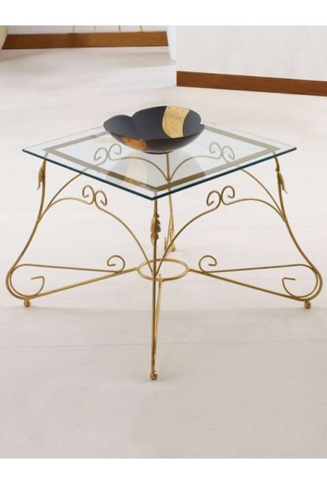 Tavolino quadrato in ferro battuto e vetro R.04003/V