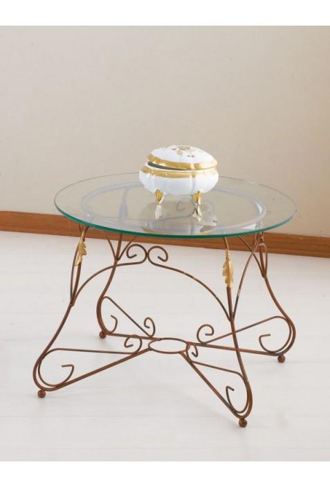 Tavolino tondo in ferro battuto e piano in vetro R.04005/V