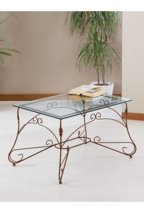 Tavolino rettangolare in ferro battuto e vetro R.04004/V