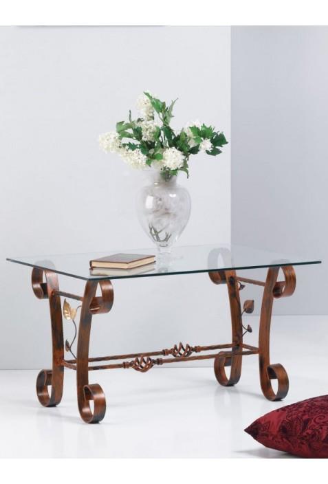 Tavolino rettangolare in ferro battuto e piano in vetro R.03288