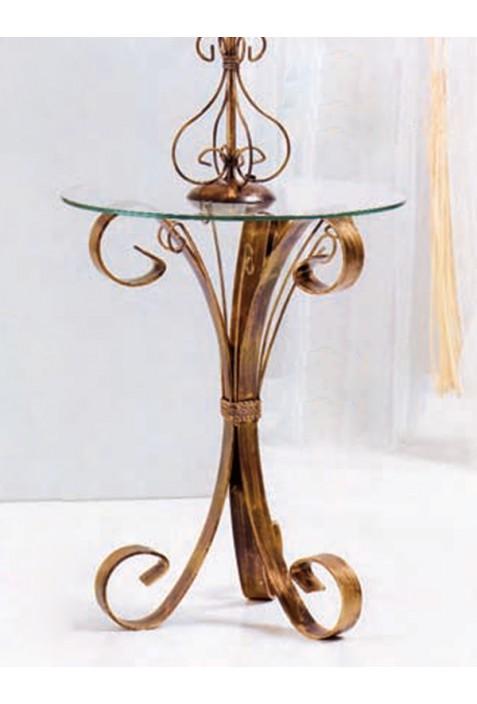 Tavolino basso in ferro battuto e piano in vetro R.022623