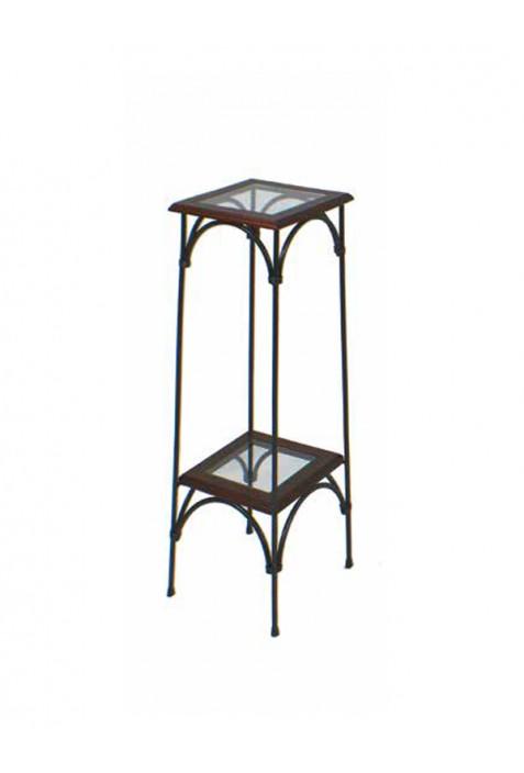 Alzatina in ferro battuto con piani in vetro R.04054