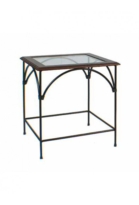 Tavolino in ferro battuto e piano in vetro R.04060