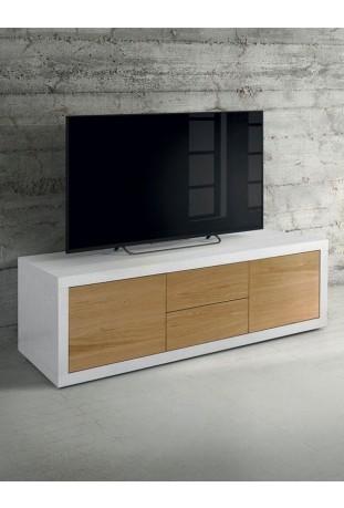Porta tv Moderno bianco e rovere