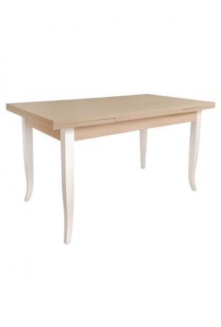 Tavolo bicolore tortora e bianco con piedi a sciabola