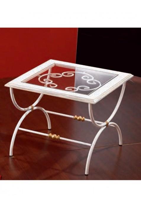 Tavolo Vetro Ferro Battuto.Tavolino In Ferro Battuto Con Piano In Vetro R 01221