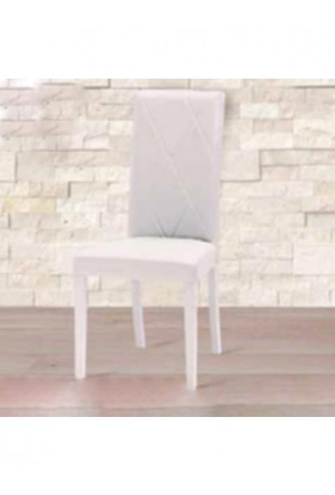 Asia Sedia in legno bianco e seduta ecopelle bianca