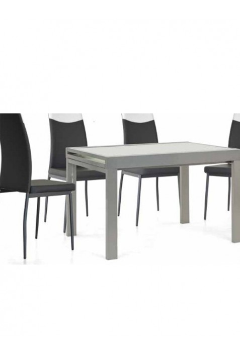 Sprint Tavolo allungabile in metallo satinato e vetro bianco