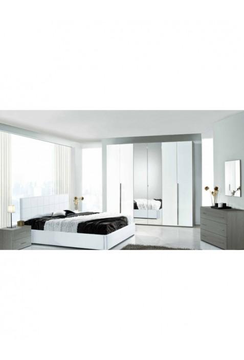Krizia Camera da letto rovere grigio e bianco laccato con contenitore