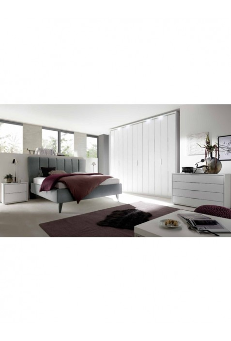 Rex Camera da letto bianca con letto in ecopelle