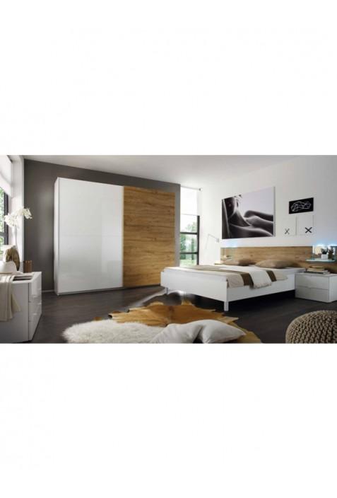 Tambura Miele Camera da letto con contenitore bianco e rovere