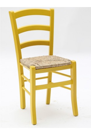 Sedia Anilina giallo con sedile in paglia di riso