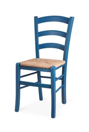 Coppia di Sedie Anilina Blu con sedile in paglia di riso