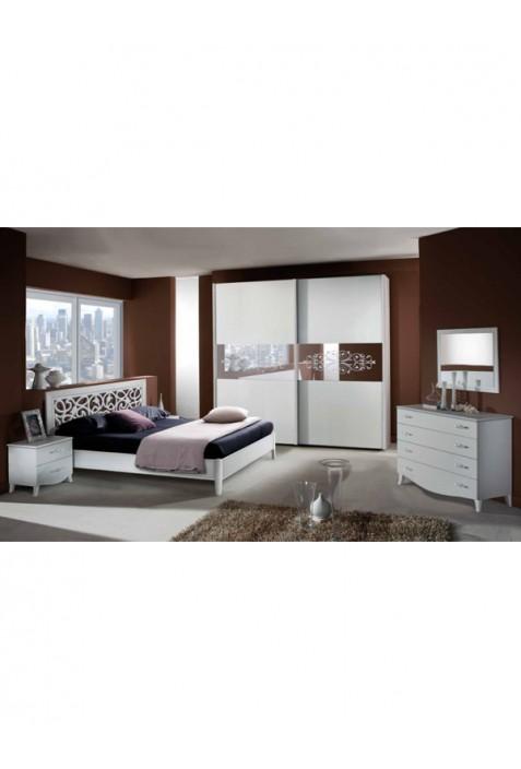 Karina Camera da letto con contenitore bianca con serigrafia