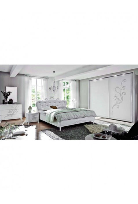 Nivea Camera da letto bianco frassinato con serigrafia argento