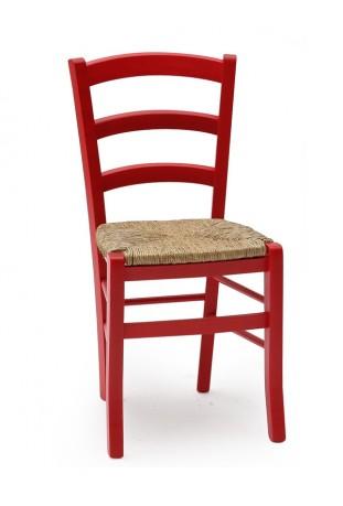Coppia di Sedie Anilina rossa con sedile in paglia di riso