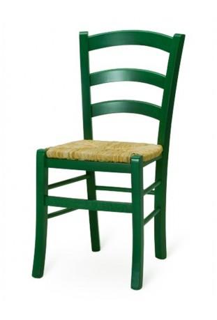 Coppia di Sedie Anilina verde con sedile in paglia di riso