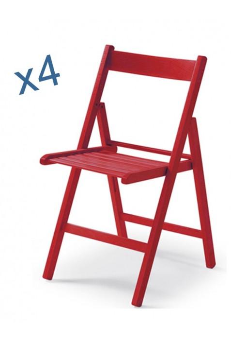 set sedie anilina rosso pieghevoli sedia legno