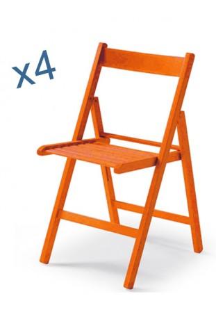 Set di quattro Sedie colorate ANILINA arancio